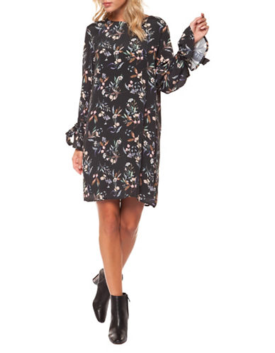 Dex Floral-Print Shift Dress-BLACK MULTI-Large