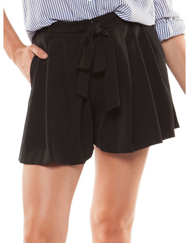 Dex Pleated Self-Sash Shorts-BLACK-X-Large 90011587_BLACK_X-Large