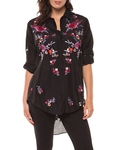 Dex Roll-Up Embroidered Button-Down Shirt-BLACK-Small
