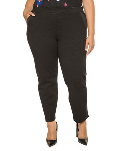 Dex Plus Textured Crop Pants-BLACK-2X