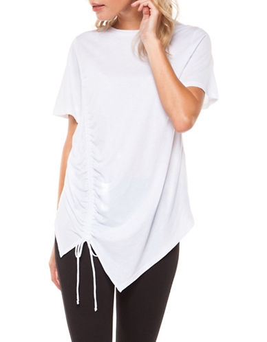 Dex Asymmetric Ruched Tee-WHITE-Small