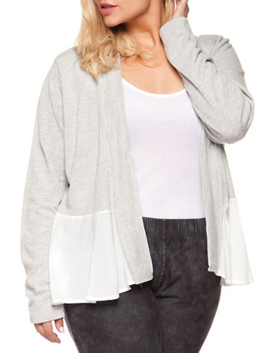 Dex Plus Twofer Lace Trim Cardigan-GREY/WHITE-3X