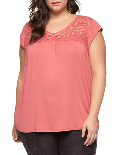 Dex Plus Cap Sleeve Lace Yoke Pullover Top-RUSTIC RED-1X