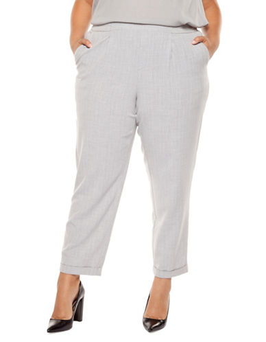 Dex Plus Pinstripe Cuffed Ankle Pants-GREY-1X