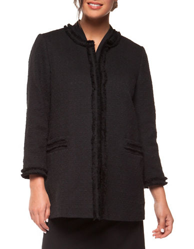 Dex Frayed Edge Cotton Jacket-BLACK-X-Large