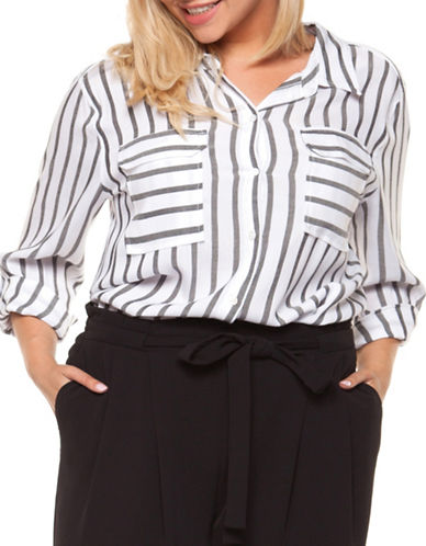 Dex Plus Stripe Button-Down Shirt-WHITE-2X