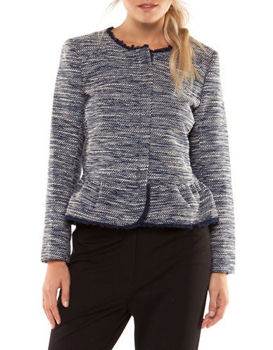 Dex Peplum Frayed Hem Jacket-NAVY-X-Small