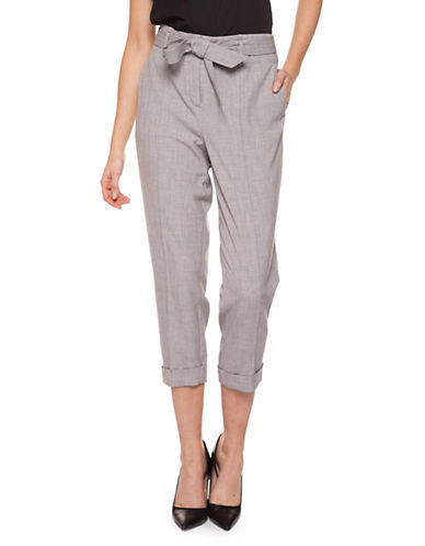 Dex Self-Tie Cropped Pants-GREY-Large 89944055_GREY_Large