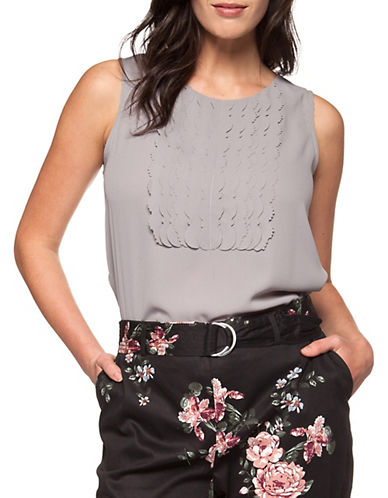 Dex Sleeveless Laser-Cut Top-GREY-X-Small 89942738_GREY_X-Small