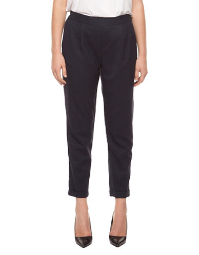 Dex Pull-On Cuffed Ankle Pants-BLACK-X-Small