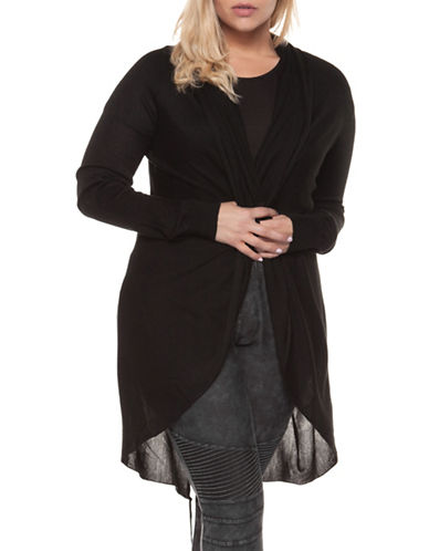 Dex Plus Plus Classic Open-Front Cardigan-BLACK-1X