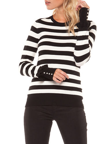 Dex Striped Crew Neck Sweater-BLACK-Large