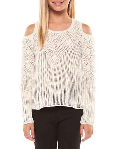 Dex Crochet Cold Shoulder Sweater-IVORY-Small