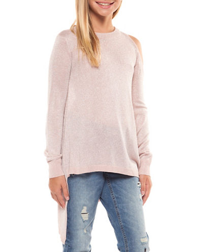 Dex Asymmetrical Glitter Sweater-PINK ICING-X-Large