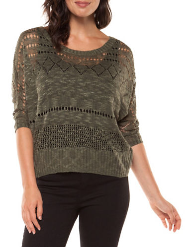 Dex Open Stitch Knit Sweater-OLIVE-Medium