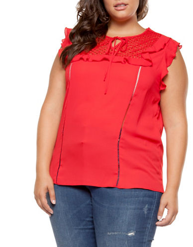 Dex Plus Flutter-Sleeve Ruffle Top-BRIGHT RED-1X