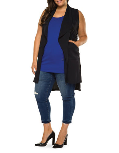 Dex Plus Open Vest with Drawcord Waist-TRUE NAVY-0X