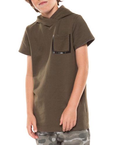 Dex Short-Sleeve Pullover Hoodie-KHAKI-Medium