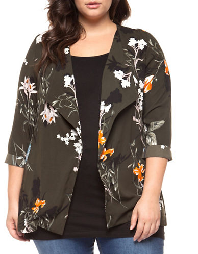 Dex Plus Printed Open Front Jacket-OLIVE-3X
