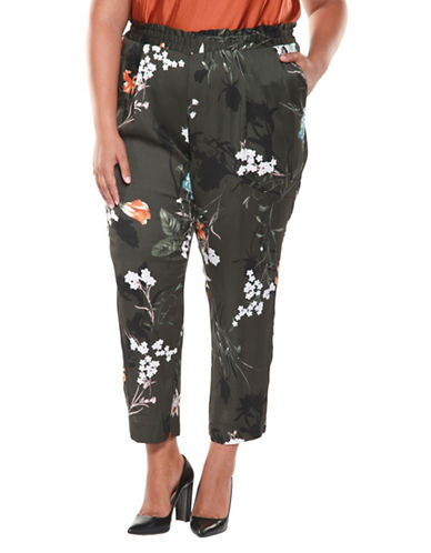 Dex Plus Printed Pull-On Pleated Pants-OLIVE-2X