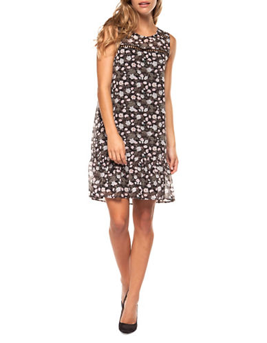 Dex Floral Print Crochet Insert Dress-BLACK-Small