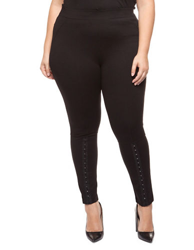 Dex Plus Front Slit Leggings-BLACK-0X