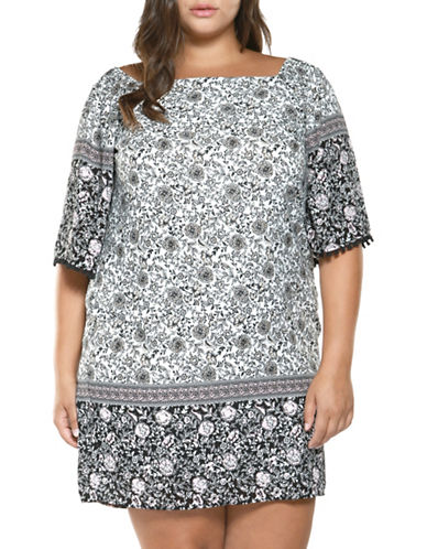 Dex Plus Boat Neck Printed Shift Dress-MULTI-2X