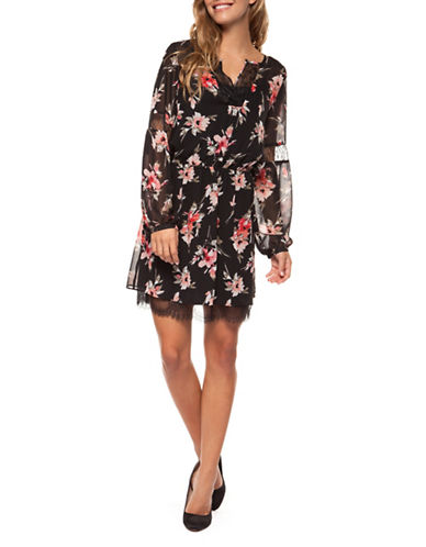 Dex Floral Fit-and-Flare Dress-MULTI-Small