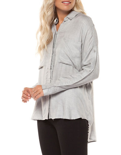 Dex Roll-Up Button-Down Shirt with Patch-GREY-Small