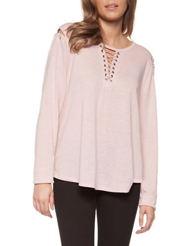 Dex Long Sleeve Lace-Up Top-PINK-Small 89977470_PINK_Small