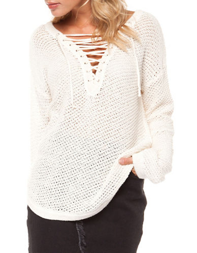 Dex Lace-Up V-Neck Sweater-IVORY-Small