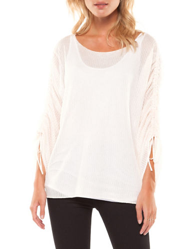 Dex Self-Tie Scoop Neck Sweater-PINK-Large