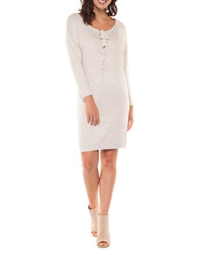 Dex Lace-Up Front Sweater Dress-NATURAL-Large