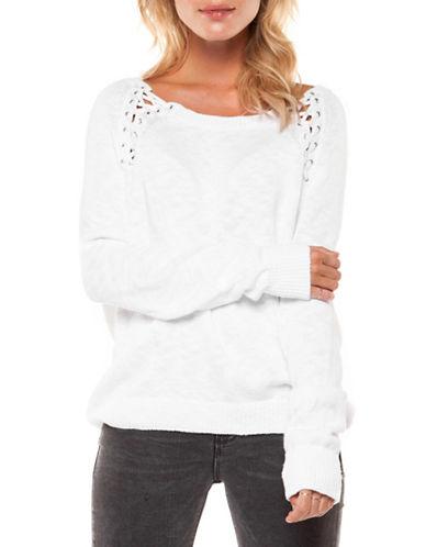 Dex Lace Scoop Neck Cotton Sweater-WHITE-Medium