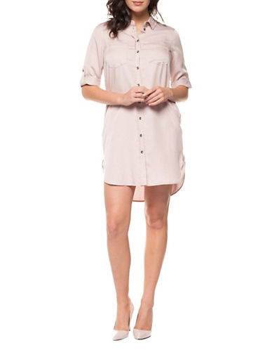 Dex Button Front Tencel Dress-BLUSH-Small
