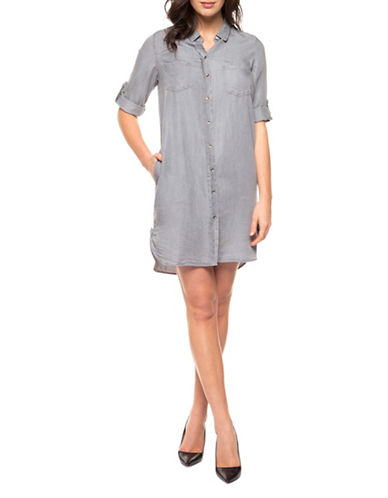 Dex Button Front Tencel Dress-GREY-Medium