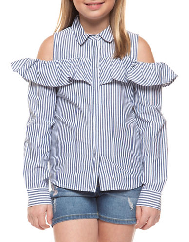 Dex Frill Cold Shoulder Top-BLUE-12