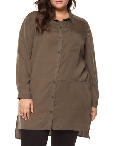 Dex Plus Long-Sleeve Hi-Lo Button-Down Shirt-BROWN-1X