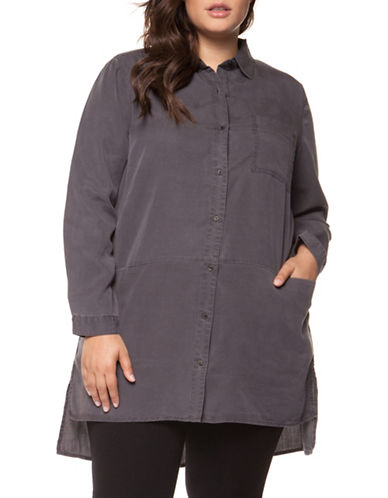 Dex Plus Long-Sleeve Hi-Lo Button-Down Shirt-GREY-1X