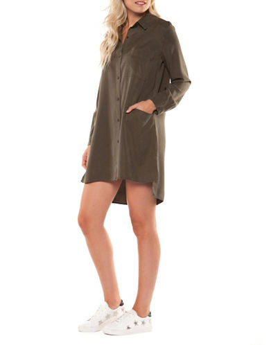 Dex Hi-Lo Shirtdress-KHAKI-X-Small