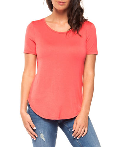 Dex Basic Scoop Neck Tee-CORAL-Large