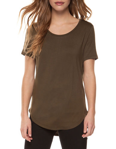 Dex Basic Scoop Neck Tee-BROWN-X-Small