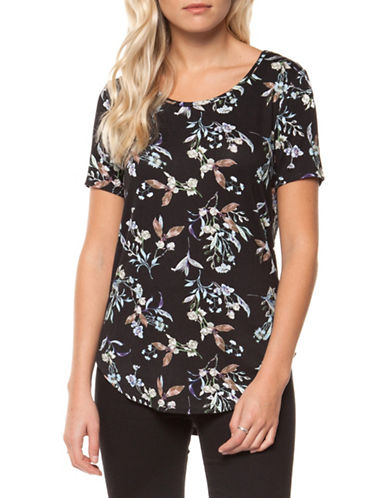 Dex Floral Printed Short Sleeve Tee-BLACK-Small 89910754_BLACK_Small