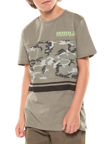 Dex Camo Print Cotton Tee-GREY-Large