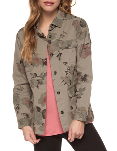 Dex Floral-Print Cotton Safari Jacket-KHAKI-Large