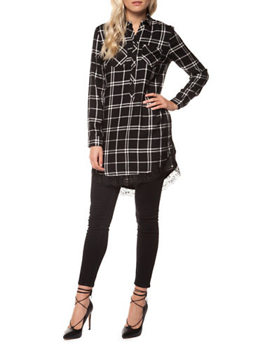 Dex Plaid Lace-Trim Shirtdress-GREY-Large