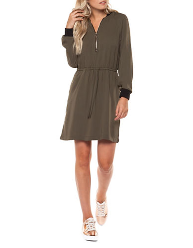 Dex Front Zip Fit-and-Flare Dress-GREEN-Large