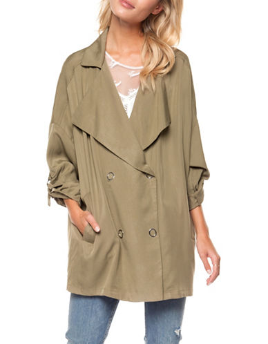 Dex Roll-Up Double-Breasted Jacket-KHAKI-X-Small