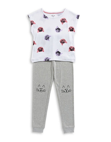 Dex Two-Piece Cat Top and Pants Set-GREY-14