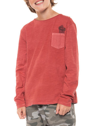 Dex Long-Sleeve Crew Neck Graphic Tee-ORANGE-X-Large